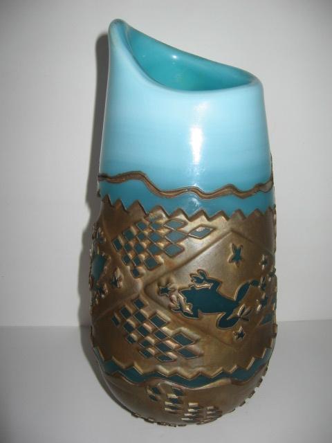 Blown Glass Frog Vase Jon Anderson Pottery